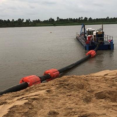 Floating hoses Dredge line components for River Dredging or Flood Mitagation