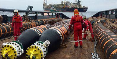 OCIMF Oil & Marine double carcass floating hoses common size.