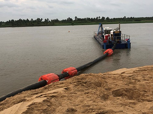Floating hoses Dredge line components for River Dredging or Flood Mitagation