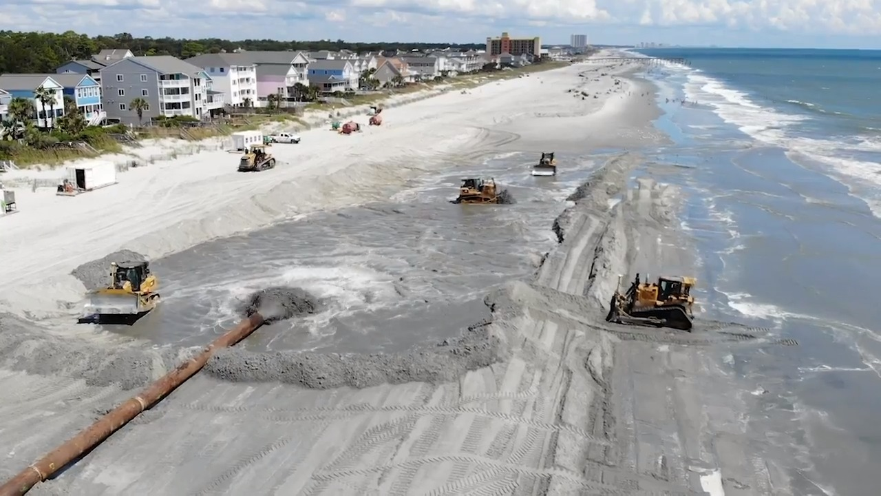 Dredge line pipe and plastic floaters for CSD Dredging Beach restoration & Shore Protection